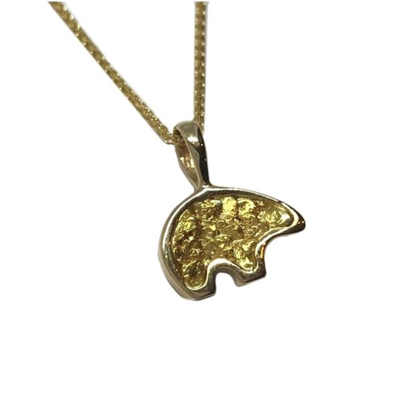 Small 14 Karat Yellow Gold Bear Pendant with Gold Nuggets Image 2 Bluestone Jewelry Tahoe City, CA