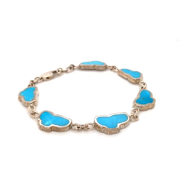 Medium Sterling Silver Turquoise Lake Tahoe Bracelet Bluestone Jewelry Tahoe City, CA