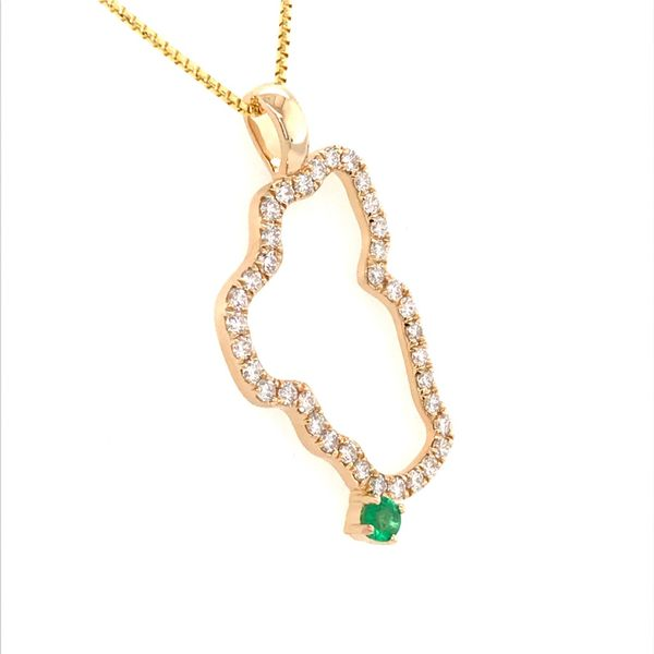 XL 14 Karat Yellow Gold Lake Tahoe Diamond Pendant with Emerald Image 2 Bluestone Jewelry Tahoe City, CA