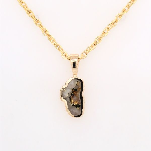 Small 14 Karat Yellow Gold Pendant with Gold Quartz Bluestone Jewelry Tahoe City, CA
