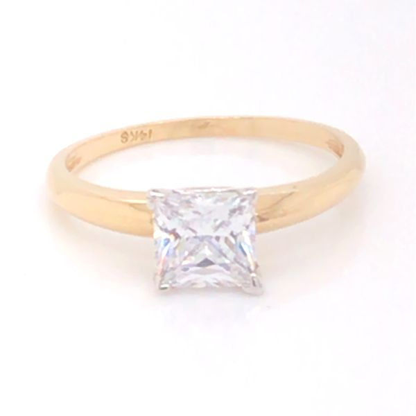 14K Yellow and White Gold Engagement Ring w/ a 6mm Princess Cut CZ Image 2 Bluestone Jewelry Tahoe City, CA