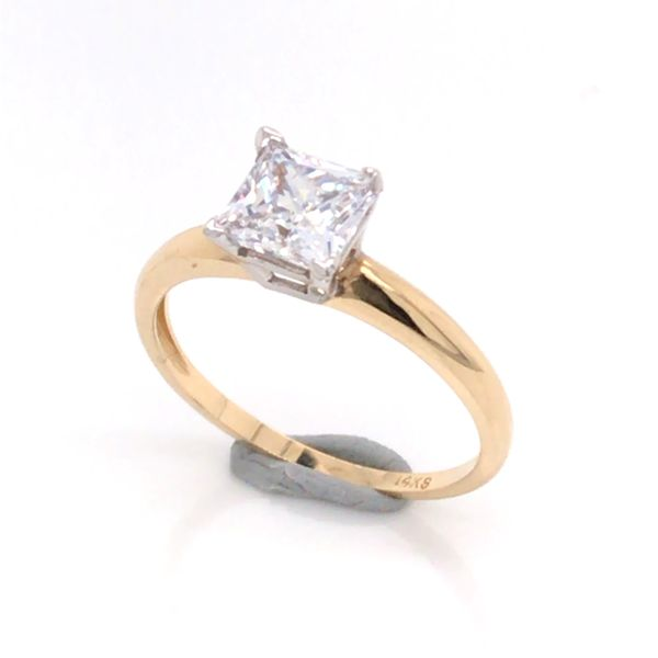 14K Yellow and White Gold Engagement Ring w/ a 6mm Princess Cut CZ Bluestone Jewelry Tahoe City, CA