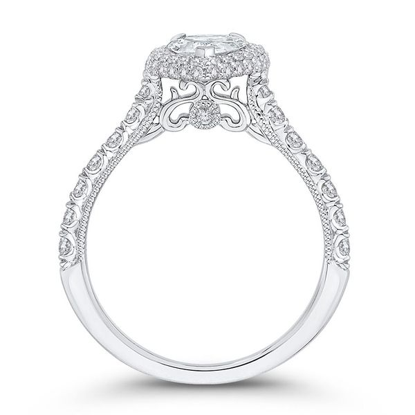 14 Karat White Gold Pear Diamond Halo Engagement Ring- Special Order Only Image 4 Bluestone Jewelry Tahoe City, CA