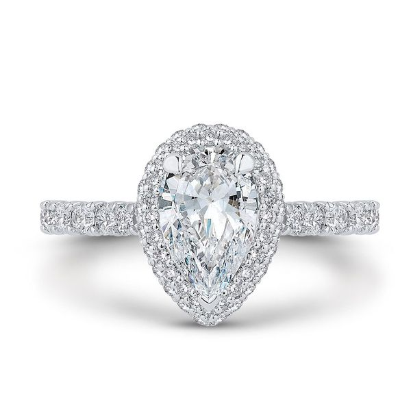 14 Karat White Gold Pear Diamond Halo Engagement Ring- Special Order Only Bluestone Jewelry Tahoe City, CA