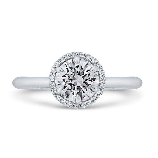 14K White Gold Diamond Halo Engagement Ring- Special Order Only Bluestone Jewelry Tahoe City, CA