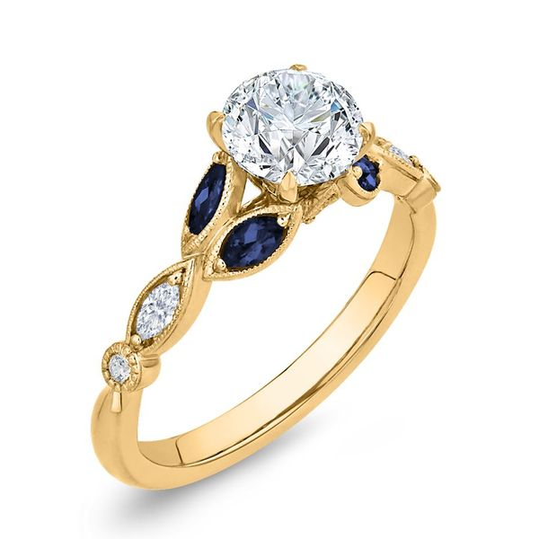 14K Yellow Gold Diamond Engagement Ring w/ Blue Sapphires- Special Order Only Image 2 Bluestone Jewelry Tahoe City, CA