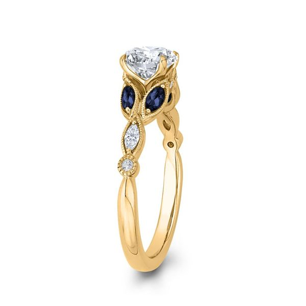 14K Yellow Gold Diamond Engagement Ring w/ Blue Sapphires- Special Order Only Image 3 Bluestone Jewelry Tahoe City, CA