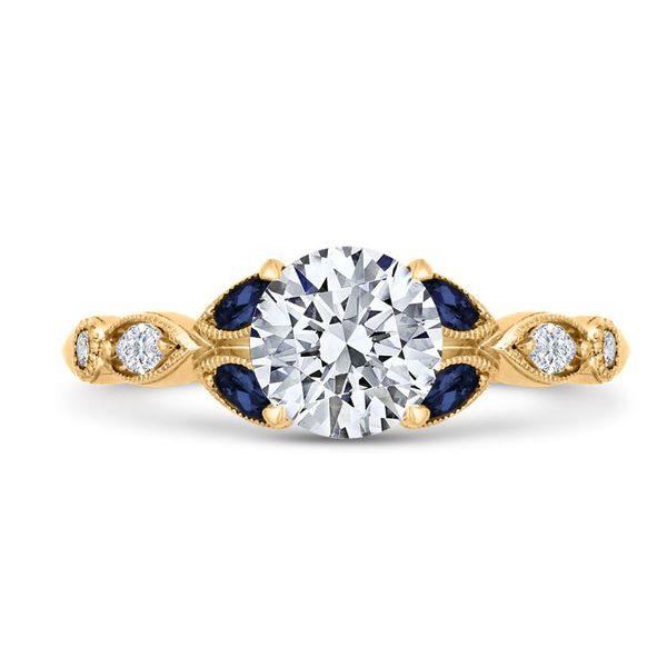 14K Yellow Gold Diamond Engagement Ring w/ Blue Sapphires- Special Order Only Bluestone Jewelry Tahoe City, CA