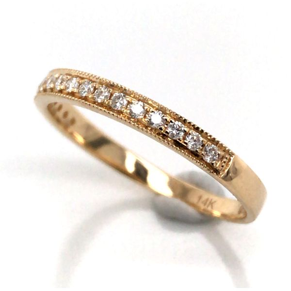 14K Yellow Gold Wedding Band with Diamonds Image 2 Bluestone Jewelry Tahoe City, CA