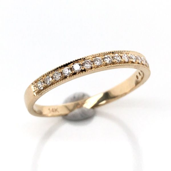 14K Yellow Gold Wedding Band with Diamonds Bluestone Jewelry Tahoe City, CA