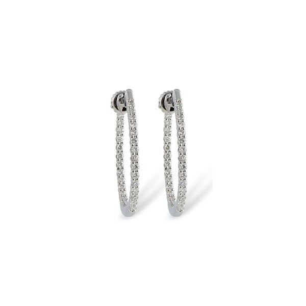 14 Karat White Gold Large Hoop Diamond Earring Bluestone Jewelry Tahoe City, CA