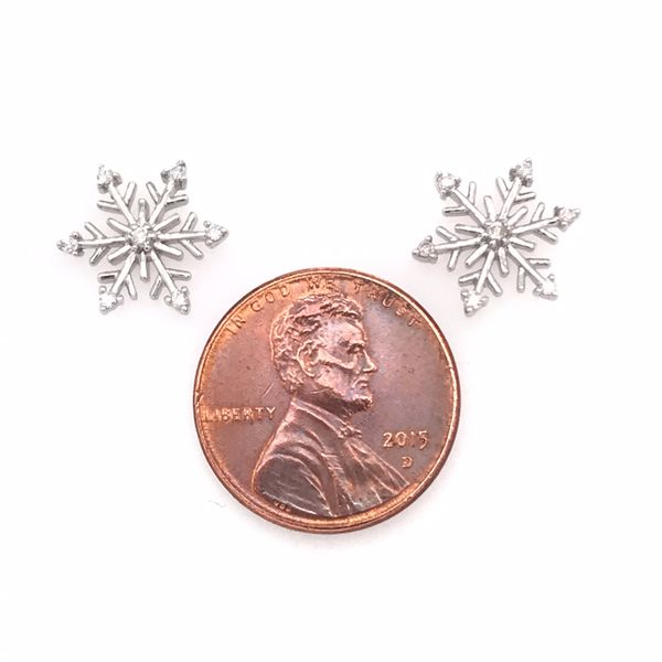 Sterling Silver Snowflake Earrings with Diamonds Image 2 Bluestone Jewelry Tahoe City, CA