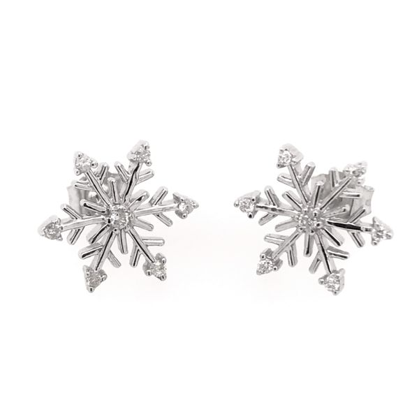 Sterling Silver with Rhodium Snowflake Stud Earrings with Diamonds Bluestone Jewelry Tahoe City, CA