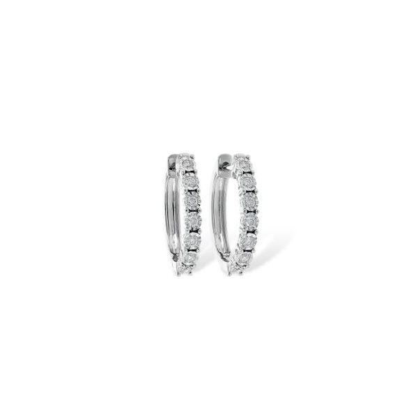 14 Karat White Gold 0.25 Carat Diamond Huggie Earrings Image 2 Bluestone Jewelry Tahoe City, CA