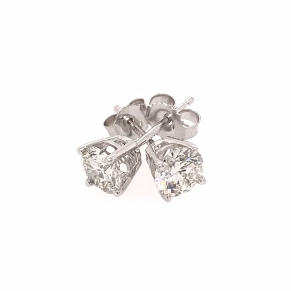 14 Karat White Gold 1.00 Carat Diamond Stud Earrings Image 2 Bluestone Jewelry Tahoe City, CA