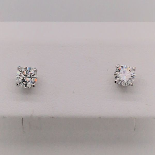 14K White Gold LG Diamond Stud Earrings 0.75cttw Image 2 Bluestone Jewelry Tahoe City, CA