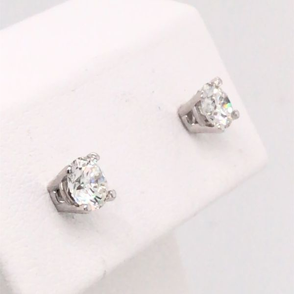 14K White Gold LG Diamond Stud Earrings 0.75cttw Image 3 Bluestone Jewelry Tahoe City, CA