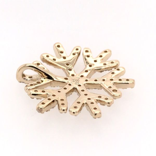 14 Karat Yellow Gold Diamond Snowflake Pendant Image 2 Bluestone Jewelry Tahoe City, CA