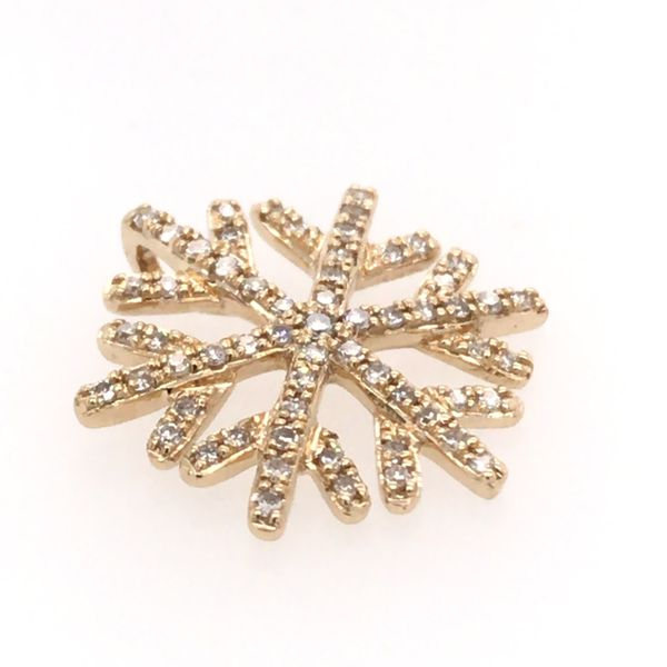 14 Karat Yellow Gold Diamond Snowflake Pendant Bluestone Jewelry Tahoe City, CA