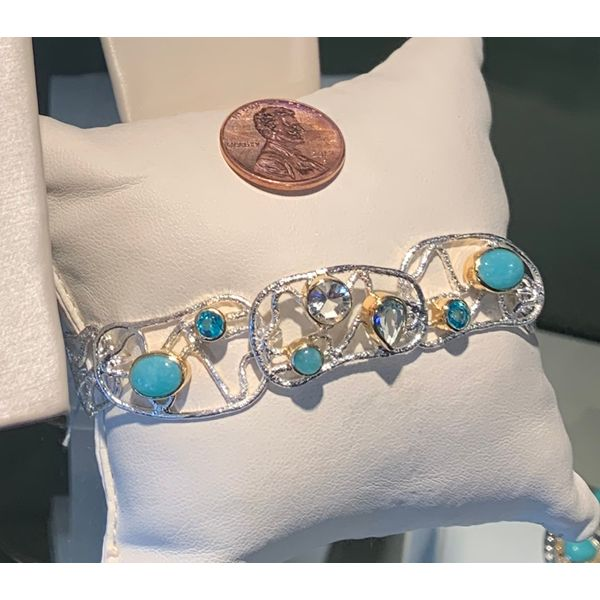Silver & 22K Yellow Gold Bracelet w/ Green Amethyst, Topaz & Amazonite Image 2 Bluestone Jewelry Tahoe City, CA
