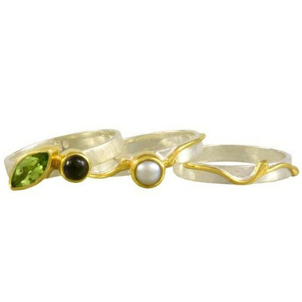 Silver & 22 Karat Yellow Gold Rings with Peridot, Iolite and Pearl Image 2 Bluestone Jewelry Tahoe City, CA