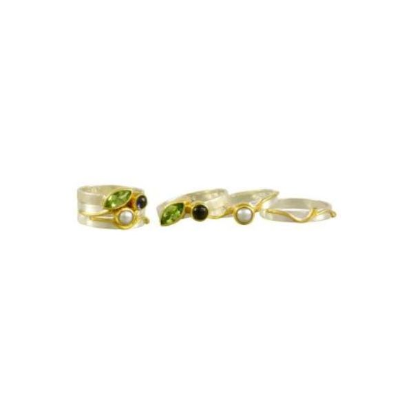 Silver & 22 Karat Yellow Gold Rings with Peridot, Iolite and Pearl Image 3 Bluestone Jewelry Tahoe City, CA