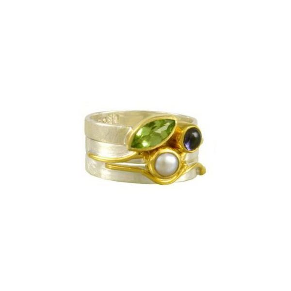 Silver & 22 Karat Yellow Gold Rings with Peridot, Iolite and Pearl Bluestone Jewelry Tahoe City, CA