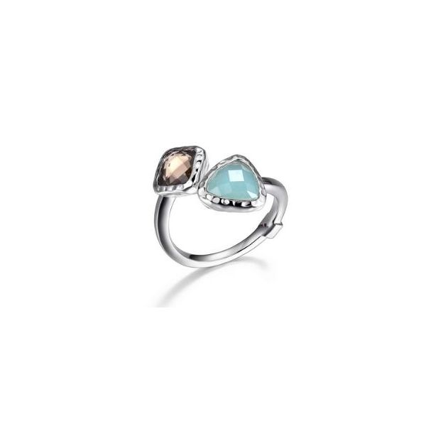 Sterling Silver with Rhodium Plating Ring with a Smokey Quartz, Amazonite and Ruby. Bluestone Jewelry Tahoe City, CA