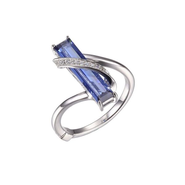 Sterling Silver Rhodium Plated Ring with Tanzanite, Ruby and Cubic Zirconia Bluestone Jewelry Tahoe City, CA