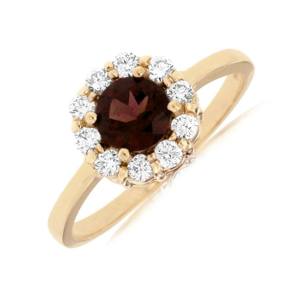 14k Yellow Gold Garnet Diamond Ring Bluestone Jewelry Tahoe City, CA
