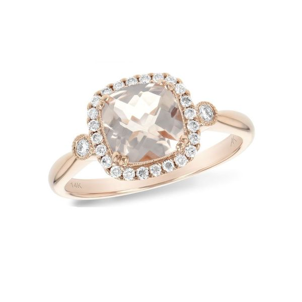 14 Karat Rosé Gold Ring with Morganite and Diamonds Bluestone Jewelry Tahoe City, CA