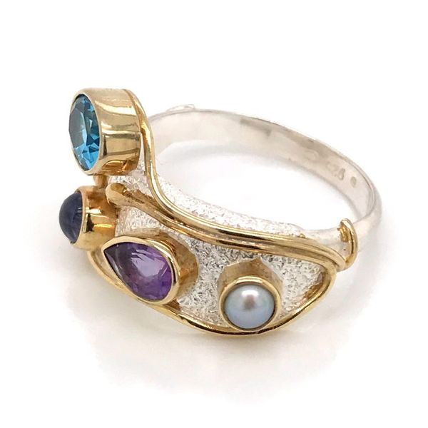 Silver & 22 Karat Yellow Gold Vermeil Ring with Amethyst, Pearl and Topaz- Size 7 Image 2 Bluestone Jewelry Tahoe City, CA