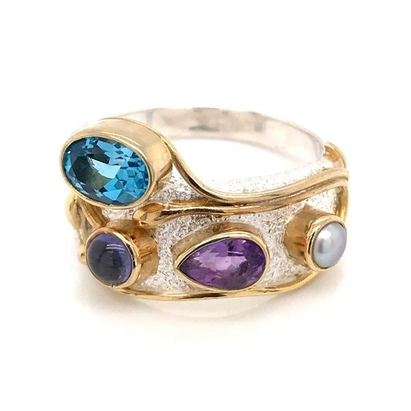 Silver & 22 Karat Yellow Gold Vermeil Ring with Amethyst, Pearl and Topaz- Size 7 Bluestone Jewelry Tahoe City, CA