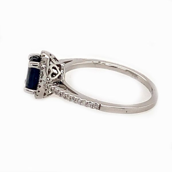 14K White Gold Dark Blue Sapphire Diamond Ring Image 2 Bluestone Jewelry Tahoe City, CA