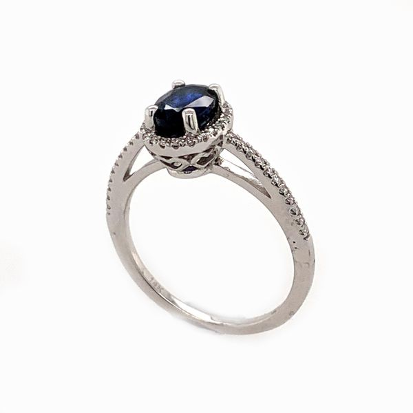 14K White Gold Dark Blue Sapphire Diamond Ring Image 3 Bluestone Jewelry Tahoe City, CA