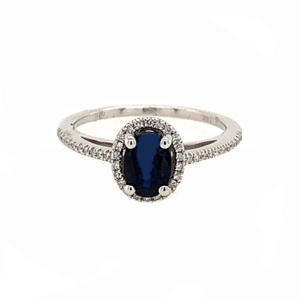 14K White Gold Dark Blue Sapphire Diamond Ring Bluestone Jewelry Tahoe City, CA