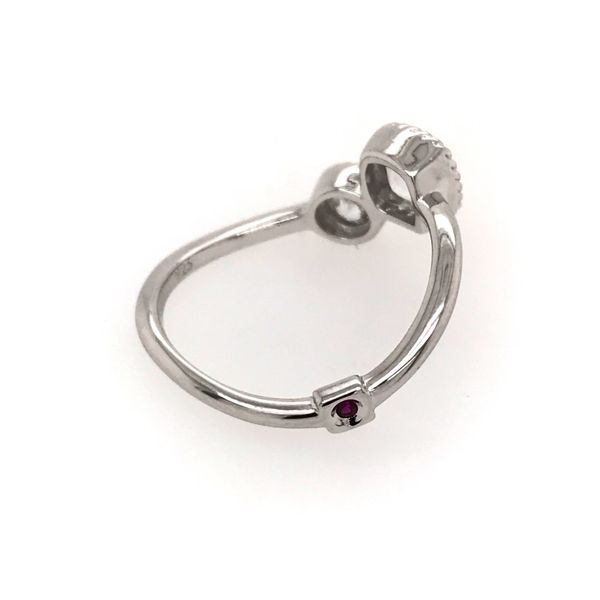 Sterling Silver with Rhodium Plating Ring with 2 CZs and a Ruby Image 3 Bluestone Jewelry Tahoe City, CA