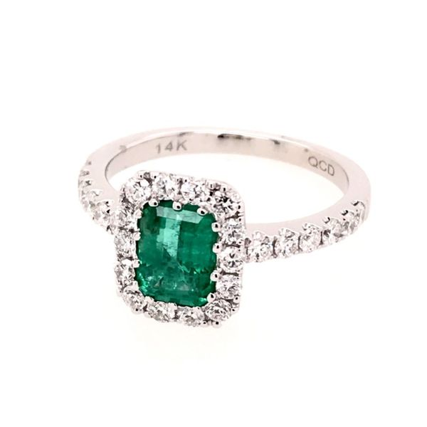 14 Karat White Gold Ring with Emerald and Diamonds Image 3 Bluestone Jewelry Tahoe City, CA