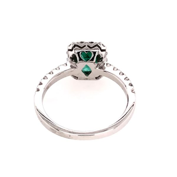 14 Karat White Gold Ring with Emerald and Diamonds Image 4 Bluestone Jewelry Tahoe City, CA