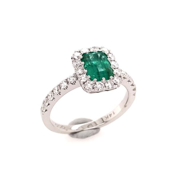 14 Karat White Gold Ring with Emerald and Diamonds Bluestone Jewelry Tahoe City, CA