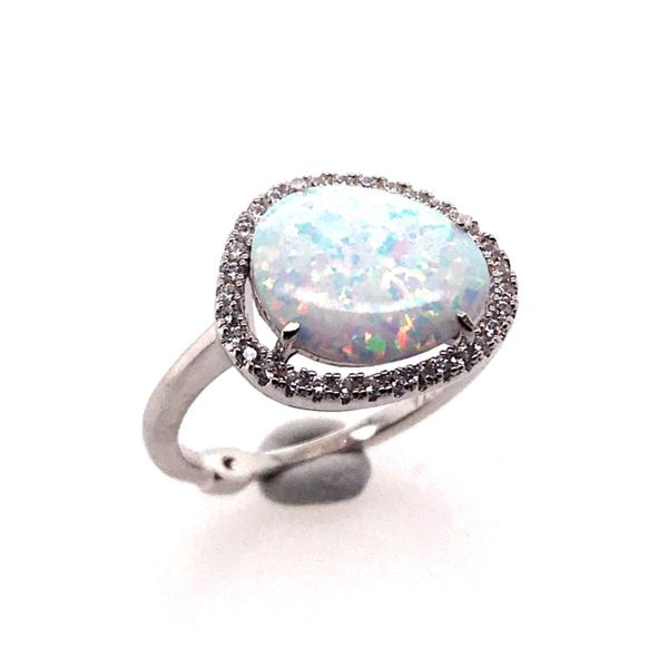 Silver Lab Created Fire & Snow Opal Ring Image 2 Bluestone Jewelry Tahoe City, CA