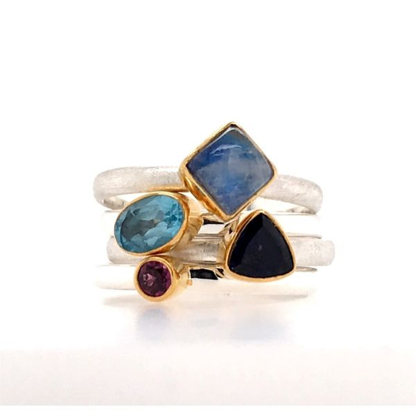 Silver with 22kt YG Ring a Rhodolite Garnet, Rainbow Blue Moonstone, Iolite & Topaz Bluestone Jewelry Tahoe City, CA