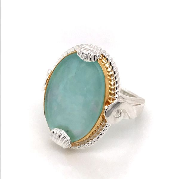 Silver and 22 Karat Yellow Gold Vermeil Ring with Mother of Pearl, Amazonite and Quartz- Ring size 9 Image 2 Bluestone Jewelry Tahoe City, CA