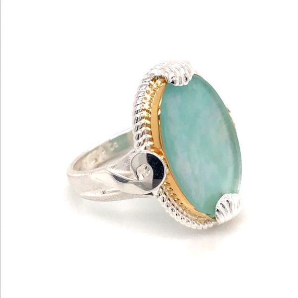 Silver and 22 Karat Yellow Gold Vermeil Ring with Mother of Pearl, Amazonite and Quartz- Ring size 9 Image 3 Bluestone Jewelry Tahoe City, CA