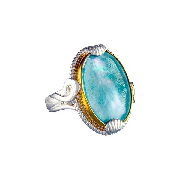 Silver and 22 Karat Yellow Gold Vermeil Ring with Mother of Pearl, Amazonite and Quartz- Ring size 9 Bluestone Jewelry Tahoe City, CA
