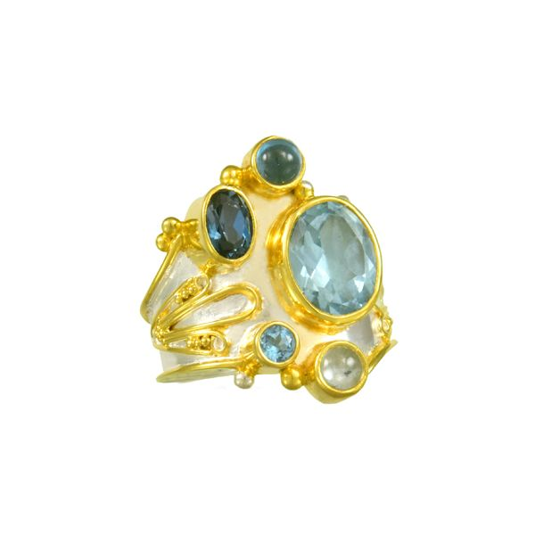 Silver and 22 Karat Yellow Gold Ring with Topaz- Ring size 8 Bluestone Jewelry Tahoe City, CA
