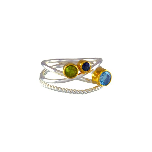 Silver and 22 Karat Yellow Gold Ring with Topazes and Peridot- Ring size 7 Bluestone Jewelry Tahoe City, CA