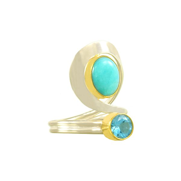 Silver and 22 Karat Yellow Gold Ring with Amazonite and Topaz- Ring size 8 Bluestone Jewelry Tahoe City, CA