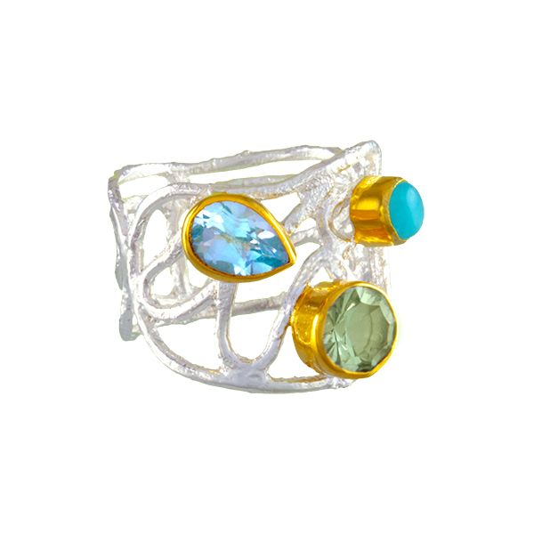 Silver and 22 Karat Yellow Gold Ring with Green Amethyst, Amazonite and Topaz- Ring size 7 Bluestone Jewelry Tahoe City, CA