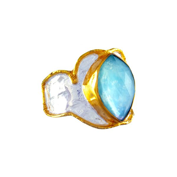 Silver & 22 Karat Yellow Gold Ring with Mother of Pearl, Topaz and Amazonite- Ring size 8 Bluestone Jewelry Tahoe City, CA